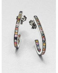 Mcl Matthew Campbell Laurenza | Multicolored Sapphire & Sterling Silver J-hoop Earrings | Lyst