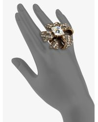 Oscar de la Renta - Brown Bow Cocktail Ring - Lyst