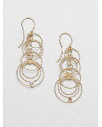 Roberto Coin | Metallic Diamond 18k Yellow Gold Hoop Drop Earrings | Lyst