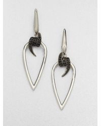 Stephen Webster | Metallic Black Sapphire Sterling Silver Barb Drop Earring | Lyst