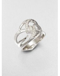 Stephen Webster | Metallic Diamond Sterling Silver Knot Ring | Lyst