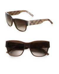 Burberry - Brown Check Square Acetate Sunglasses - Lyst