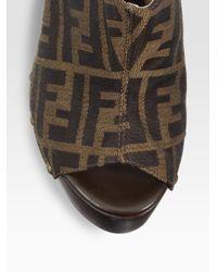 Fendi - Brown Safari Logo-detailed Clogs - Lyst