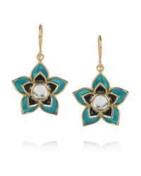 Isharya | Blue Lotus Charm 18karat Goldplated Crystal Earrings | Lyst