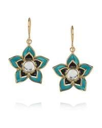 Isharya   Blue Lotus Charm 18karat Goldplated Crystal Earrings   Lyst