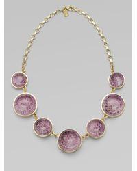 Kara Ross | Gray Glitter Embellished Water Snake Skin Resin Necklace | Lyst