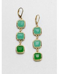 kate spade new york - Green Faceted Link Drop Earrings - Lyst