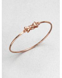 Marc By Marc Jacobs | Pink Tiny Bow Bangle Braceletrose Goldtone | Lyst