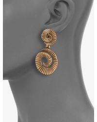 Oscar de la Renta - Metallic Spiral Clipon Drop Earrings - Lyst