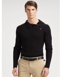 Lyst - Ralph Lauren Black Label Turtleneck Button Sweater in Black ... b7ed0f1290cc