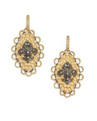 Belargo - Metallic Twotone Fleur De Lis Medallion Drop Earrings - Lyst