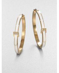 Michael Kors - Metallic White Epoxy Goldtone Steel Hoop Earrings - Lyst