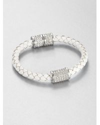 Michael Kors | Metallic Leather Crystal Silvertone Stainless Steel Bracelet | Lyst