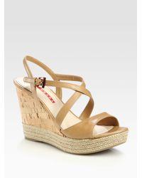 c9ae674b179b Lyst - Prada Leather Espadrille Wedge Sandals in Natural