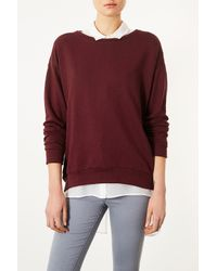 Topshop | Purple Curve Hem Sweat | Lyst