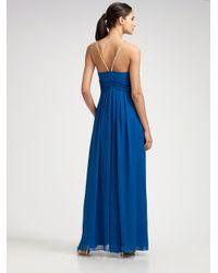 Aidan Mattox - Blue Silk Chiffon Necklace Gown - Lyst