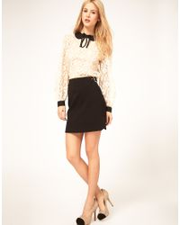 ASOS Collection | Black Mini Skirt with Buckle Waist | Lyst