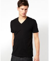 ASOS | Black T-shirt With V Neck for Men | Lyst