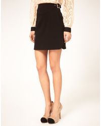 ASOS Collection - Black Mini Skirt with Buckle Waist - Lyst