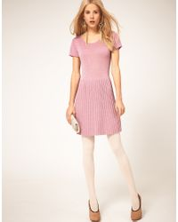 ASOS Collection - Pink Asos Metallic Knitted Dress with Dropped Waist - Lyst
