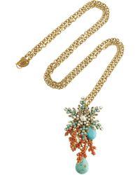 Bijoux Heart   Metallic 24karat Goldplated Swarovski Crystal Necklace   Lyst