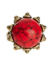 French Connection - Red Semi Precious Stone Ring - Lyst