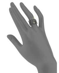 Gurhan - Metallic 24k Yellow Gold & Blackened Sterling Silver Spring Wrap Ring - Lyst