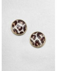 kate spade new york | Metallic Leopard Button Earrings | Lyst