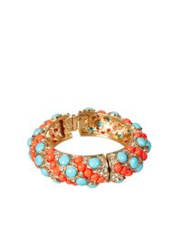 Kenneth Jay Lane - Metallic Bangle in Coral and Turquoise - Lyst