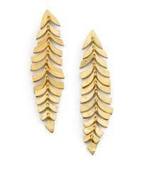 Kevia | Metallic Leaf Drop Earrings | Lyst