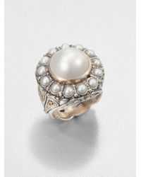 Konstantino | White Cultured Pearl Sterling Silver and 18k Yellow Gold Ring | Lyst