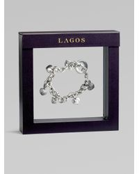 Lagos - Metallic Sterling Silver Heart Charm Bracelet - Lyst