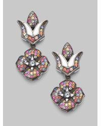 M.c.l  Matthew Campbell Laurenza - Multicolor Sapphire Pavé & Sterling Silver Drop Flower Earrings - Lyst