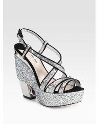 Miu Miu | Metallic Glitter and Suede Trimmed Platform Sandals | Lyst