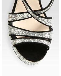 Miu Miu - Metallic Glitter and Suede Trimmed Platform Sandals - Lyst