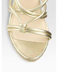 Prada - Metallic Wedge Sandals - Lyst