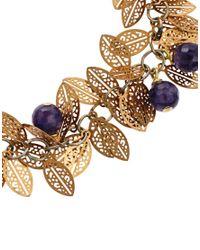 Sam Ubhi - Metallic Delicate Leaf Bracelet with Amethyst Beads for Men - Lyst