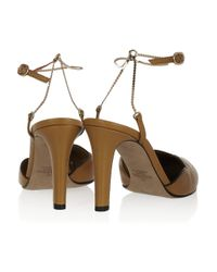 Valentino - Brown Leather Chainstrap Pumps - Lyst