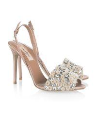 Valentino | Pink Crystal-Embellished Satin Sandals | Lyst