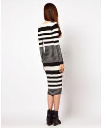 ASOS   Gray Midi Bodycon Dress in Graduated Stripe Print   Lyst