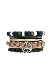 ASOS - Brown Leather Bracelet with Peace Sign for Men - Lyst