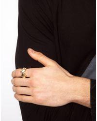 ASOS - Metallic Panther Head Ring for Men - Lyst