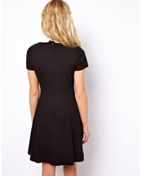 Lyst Asos Skater Dress With Contrast Collar In Black