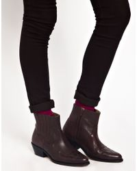 ASOS - Brown Premium Act Up Leather Ankle Boots - Lyst