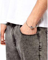 ASOS - Metallic Bird Skull Bracelet for Men - Lyst