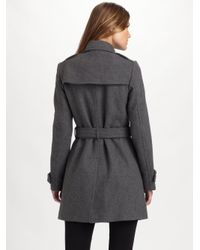 Burberry Brit - Gray Double-breasted Coat - Lyst