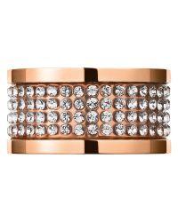 Dyrberg/Kern | Pink Dyrberg/kern Emily Rose Gold Swarovski Crystal Multi Row Ring | Lyst