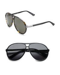 Gucci | Brown Acetate Aviator Sunglasses for Men | Lyst