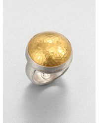 Gurhan - Metallic Amulet 24k Yellow Gold & Sterling Silver Dome Ring - Lyst