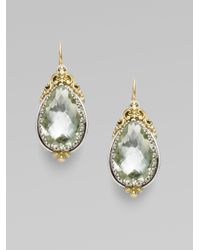 Konstantino - Green Prasiolite Sterling Silver 18k Yellow Gold Earrings - Lyst